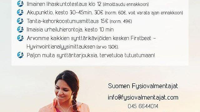Juhlimme Fysiovalmentajien 1v.-synttäreitä la 11.3.2017 klo 10-16:00