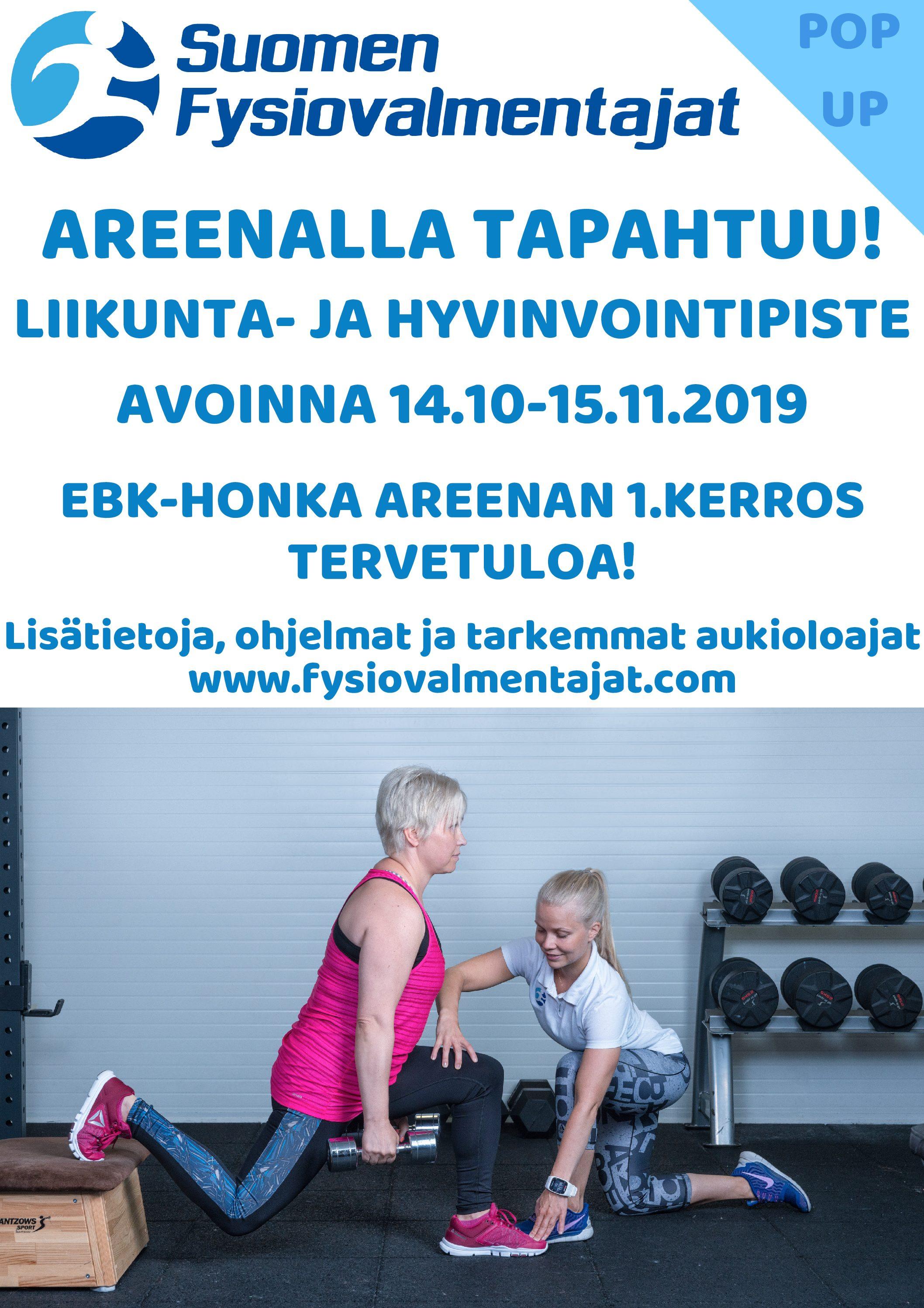 14.10 – 15.11. 2019: Pop up – Liikunta- ja hyvinvointipiste